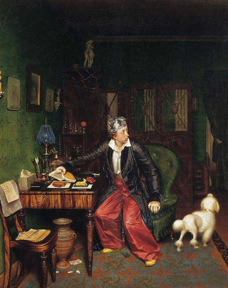 Pavel Fedotov, Breakfast of an Aristocrat, 1850, The State Tretyakov Gallery, Moscow, Russia. A young aristocrat tries to conceal his misfortunes surrounding himself with luxurious things and fancy homewear outfits in particular.